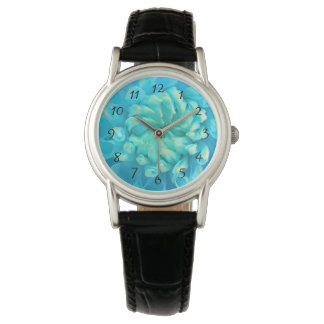 Turquoise Blue Dahlia Flower in Watercolor Watch