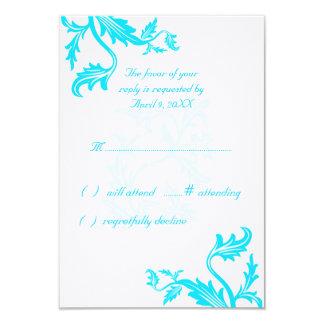 "Turquoise Blue Damask Leaf Print Wedding Response 3.5"" X 5"" Invitation Card"