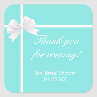 Turquoise Blue Diamond Bow Bridal Shower Favor Square Sticker