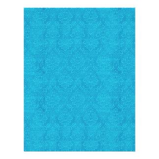 Turquoise Blue Embossed Look Wedding Damask DIY V1 Flyer