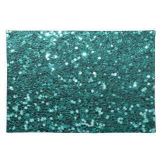 Turquoise Blue Faux Glitter Print Aqua Teal Placemat