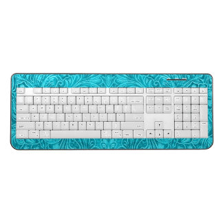 Turquoise-Blue Floral Pattern Suede Texture Wireless Keyboard