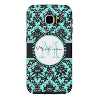 Turquoise blue glitter & black damask, Name Samsung Galaxy S6 Cases