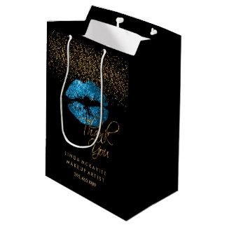 Turquoise Blue Glitter Lipstick - Thank You Medium Gift Bag