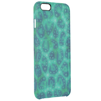 Turquoise Blue Glowing Cheetah Clear iPhone 6 Plus Case