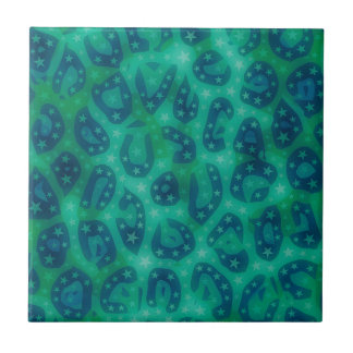 Turquoise Blue Glowing Cheetah Small Square Tile