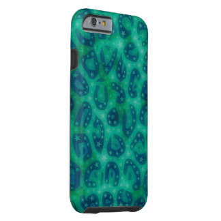 Turquoise Blue Glowing Cheetah Tough iPhone 6 Case
