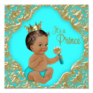Turquoise Blue Gold Ethnic Prince Baby Shower 13 Cm X 13 Cm Square Invitation Card