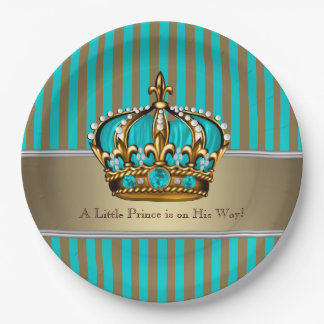 Turquoise Blue Gold Prince Baby Shower Paper Plate