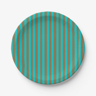 Turquoise Blue Gold Stripe Paper Plate