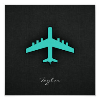 Turquoise; Blue Green Airplane Posters