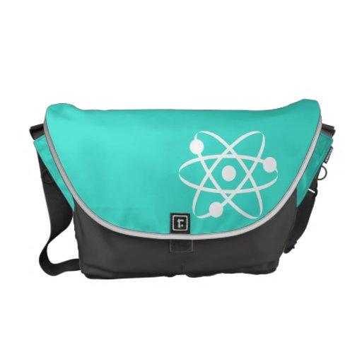 Turquoise, Blue-Green Atom Messenger Bag