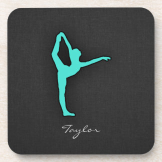 Turquoise; Blue Green Ballet Dancer Coaster