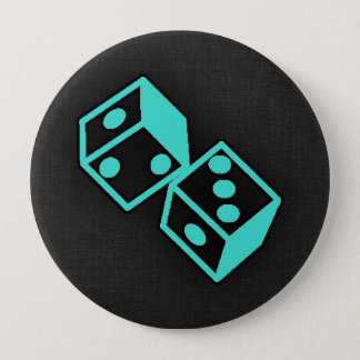 Turquoise, Blue-Green Casino Dice 10 Cm Round Badge