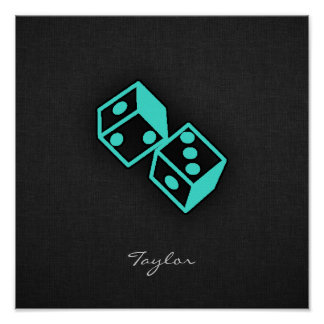 Turquoise Blue-Green Casino Dice Poster