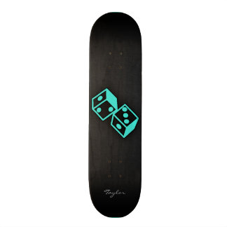 Turquoise, Blue-Green Casino Dice Skate Deck