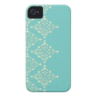 Turquoise Blue/Green damask dots pattern iphone 4 iPhone 4 Cover