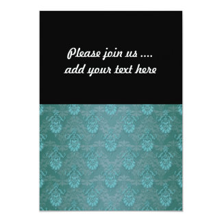 Turquoise Blue Green Damask Pattern 13 Cm X 18 Cm Invitation Card