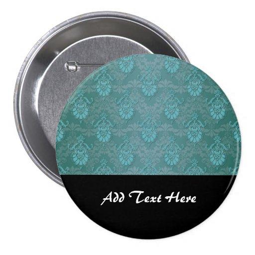 Turquoise Blue Green Damask Pattern Pinback Button