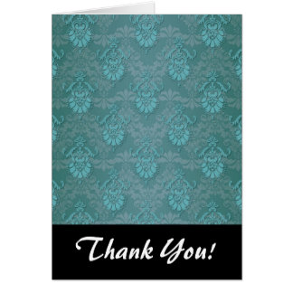 Turquoise Blue Green Damask Pattern Note Card