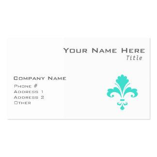 Turquoise Blue-Green Fleur-de-lis Business Card