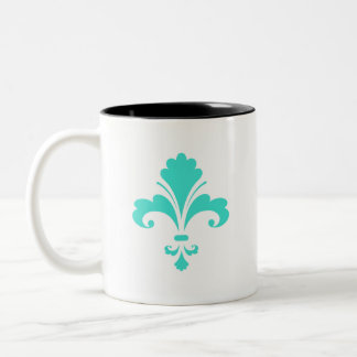 Turquoise, Blue-Green Fleur-de-lis Two-Tone Mug