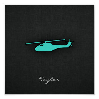 Turquoise; Blue Green Helicopter Posters