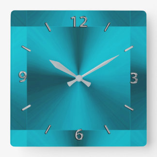 Turquoise Blue Green Metallic Clock