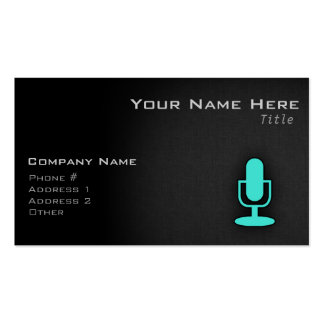 Turquoise, Blue-Green Microphone Business Card Templates