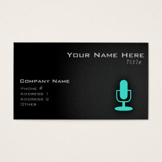 Turquoise, Blue-Green Microphone Business Card