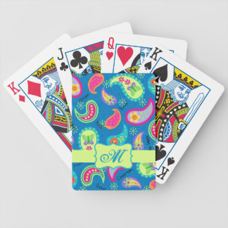 Turquoise Blue Green Modern Paisley Pattern Bicycle Playing Cards
