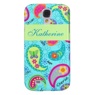 Turquoise Blue Green Modern Paisley Pattern Name Galaxy S4 Cases