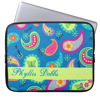 Turquoise Blue Green Modern Paisley Pattern Name Laptop Sleeves