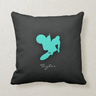 Turquoise; Blue Green Motocross Cushion