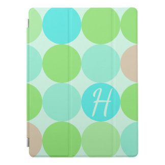 Turquoise Blue Green & Orange Circles Monogram iPad Pro Cover