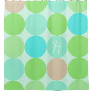 Turquoise Blue Green & Orange Circles Monogram Shower Curtain