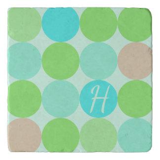 Turquoise Blue Green & Orange Circles Monogram Trivet