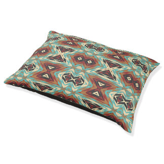 Turquoise Blue Green Orange Tribal Mosaic Pattern Pet Bed