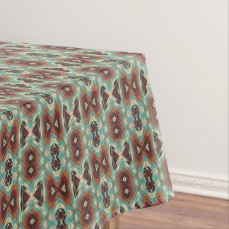 Turquoise Blue Green Orange Tribal Mosaic Pattern Tablecloth