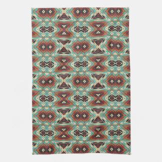 Turquoise Blue Green Orange Tribal Mosaic Pattern Tea Towel