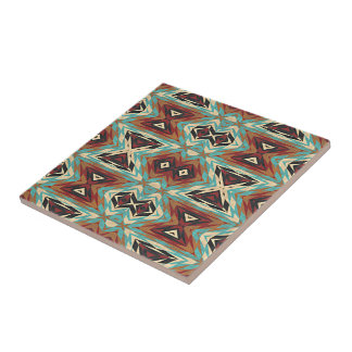 Turquoise Blue Green Orange Tribal Mosaic Pattern Tile