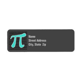 Turquoise, Blue-Green Pi Symbol Return Address Label