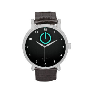 Turquoise, Blue-Green Power Button Wristwatches