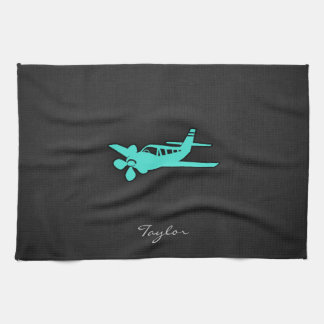Turquoise Blue Green Small Airplane Hand Towel