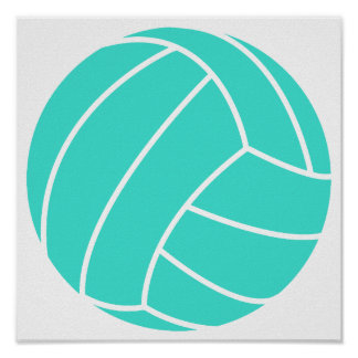 Turquoise; Blue Green Volleyball Posters