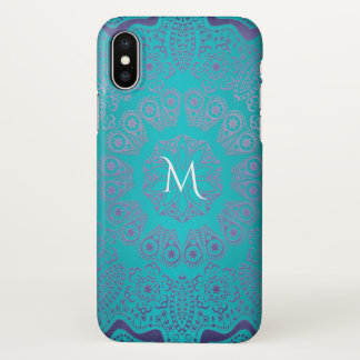 Turquoise Blue Green With Purple Mandala Monogram iPhone X Case