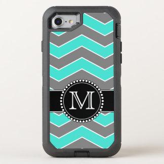 Turquoise Blue, Grey, Black Chevron, Monogrammed OtterBox Defender iPhone 8/7 Case
