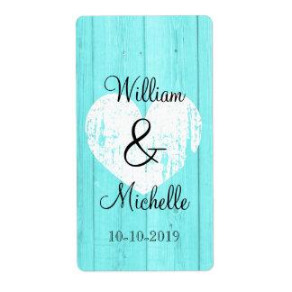 Turquoise blue heart wedding wine bottle labels