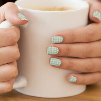 Turquoise blue houndstooth tweed zigzag pattern minx nail art