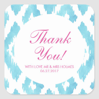 Turquoise Blue Ikat Thank You Square Sticker